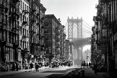 Usa Photograph - Brooklyn Bridge From Manhattan 1930's by Visions of History