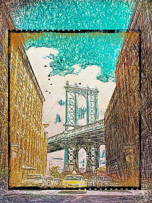 Nyc Mixed Media - Manhattan Bridge From The East Side by Bellesouth Studio