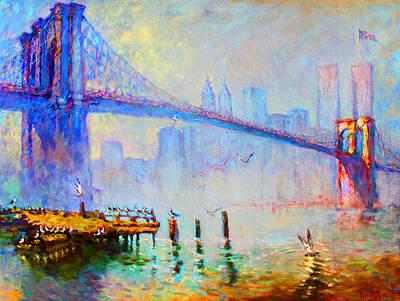 Seagulls Painting - Brooklyn Bridge In A Foggy Morning by Ylli Haruni
