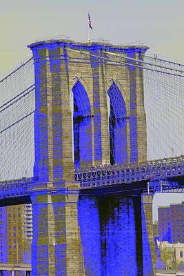 Brooklyn Bridge In Blue Print by Christopher Kirby
