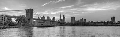Brooklyn Bridge Monochrome Panoramic Print by Scott McGuire
