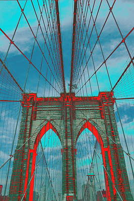 Psychedelic Photograph - Brooklyn Bridge Red Shadows by Christopher Kirby