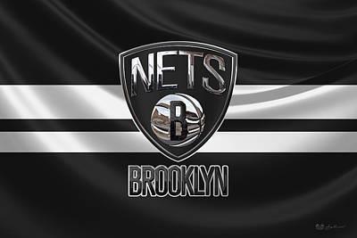 Brooklyn Nets - 3 D Badge Over Flag Print by Serge Averbukh