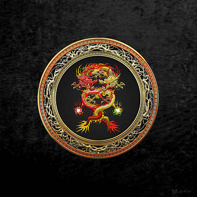 Brotherhood Of The Snake - The Red And The Yellow Dragons On Black Velvet Original by Serge Averbukh