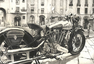 Piazza Drawing - Brough Superior Ss 100 by Norman Bean