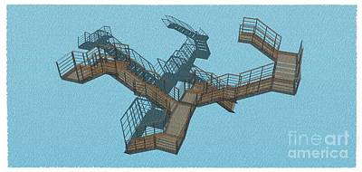 Santa Monica Mixed Media - Brown And Cyan Stair 34 Architecture For Architects by Pablo Franchi