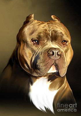 Michael Spano Painting - Brown And White Pit Bull By Spano by Michael Spano