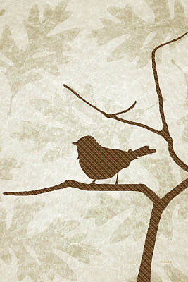 Digital Art - Brown Bird Silhouette Modern Bird Art by Christina Rollo