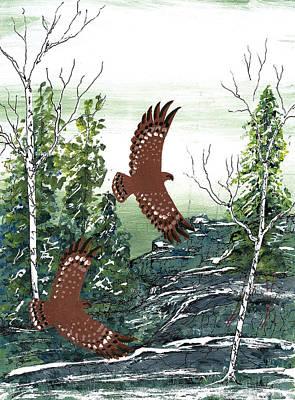 Lake Superior Art Gallery Painting - Brown Birds by Francis Esquega