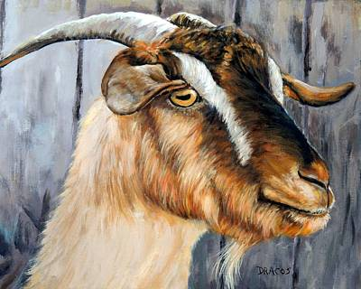 Fiber Art Painting - Brown Cashmere Goat Painting by Dottie Dracos