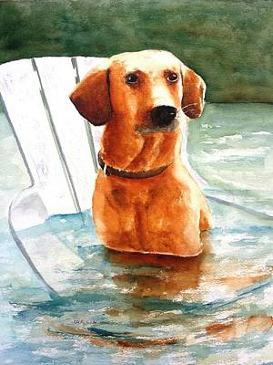Chocolate Lab Puppy Painting - Brown Dog Sitting On Chair In Water by Carlin Blahnik