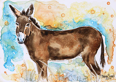 Donkey Watercolor Painting - Brown Donkey by Shaina Stinard