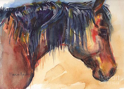 Wild Horse Painting - Brown Horse Watercolor Art by Maria's Watercolor