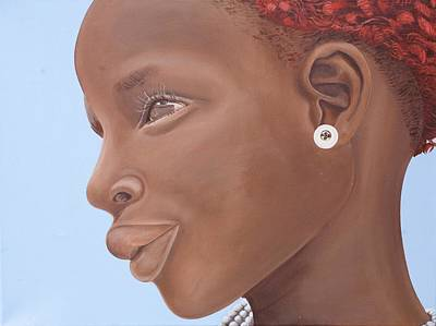 Necklace Painting - Brown Introspection by Kaaria Mucherera