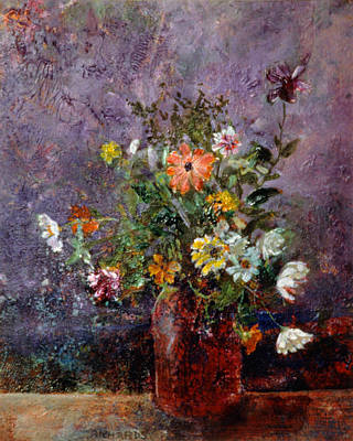 Phlox Painting - Brown Jug by Richards Art