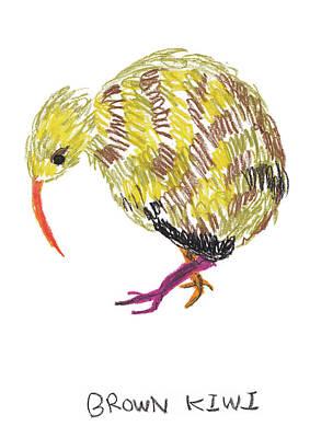 Kiwi Drawing - Brown Kiwi by Light Sweet Cat