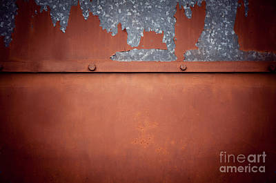 Brown Old Cracked Paint Tin Sheet Metal Texture  Print by Arletta Cwalina