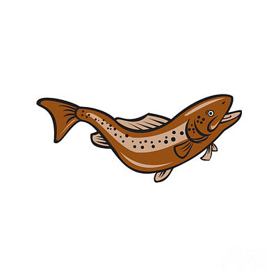 Brown Spotted Trout Jumping Cartoon Print by Aloysius Patrimonio