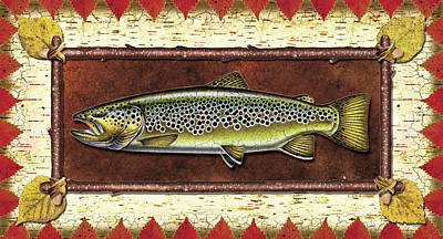 Flyfishing Painting - Brown Trout Lodge by JQ Licensing
