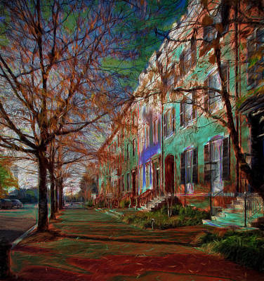 Brownstones At Lafayette Park Print by Ericamaxine Price