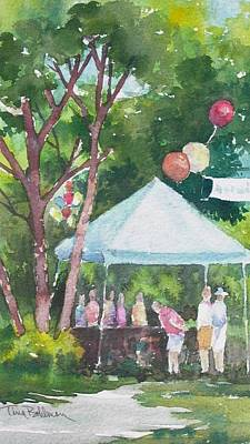 Balloon Vendor Painting - Browsing The Sale Table by Tina Bohlman