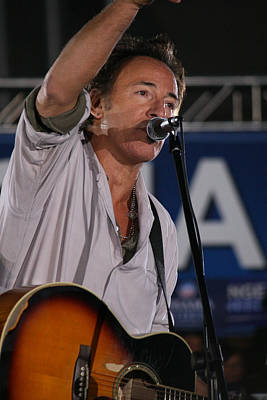 Bruce Springsteen In Cleveland Print by Brian M Lumley