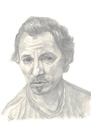 Bruce Springsteen Portrait Print by Carol Wisniewski