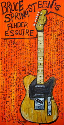 Bruce Springsteen Painting - Bruce Springsteen's Fender Esquire by Karl Haglund