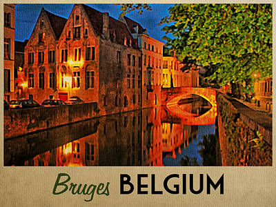 Belgian Digital Art - Bruges Belgium At Night by Flo Karp