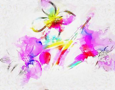 Digital Art - Brushed Abstract Flowers by Mario Carini