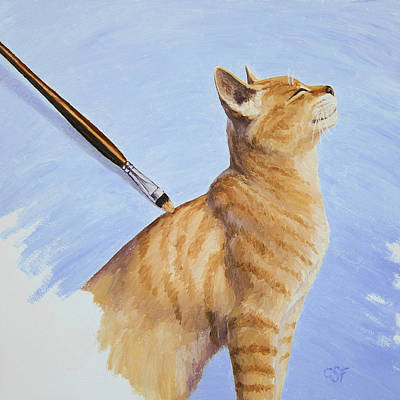 Brushing The Cat Print by Crista Forest