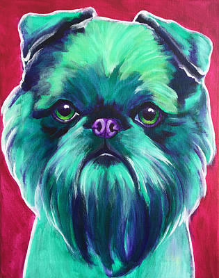 Brussels Griffon - Bottle Green Original by Alicia VanNoy Call
