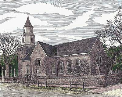 Drawing - Bruton Parish Church, Williamsburg Va by Stephany Elsworth
