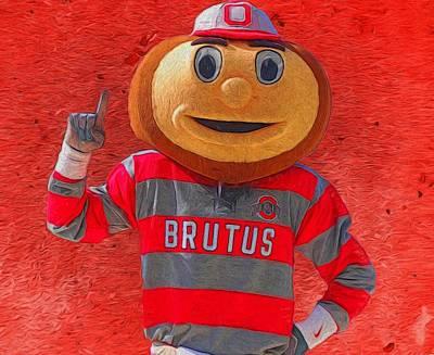 Mascots Mixed Media - Brutus The Buckeye by Dan Sproul
