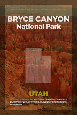 National Parks Mixed Media - Bryce Canyon National Park In Utah Travel Poster Series Of National Parks Number 06 by Design Turnpike