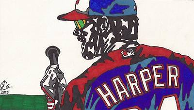 Baseball Art Drawing - Bryce Harper 3 by Jeremiah Colley