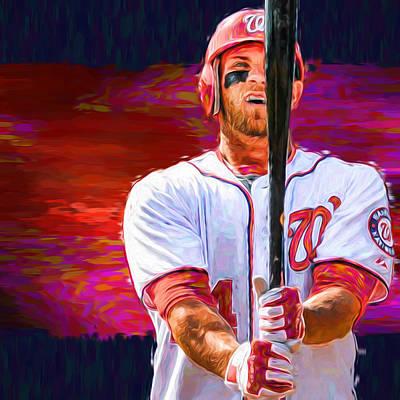 Bryce Harper Mlb Washington Nationals Baseball Painted Digitally Print by David Haskett