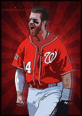 Baseball Gifts Digital Art - Bryce Harper by Semih Yurdabak