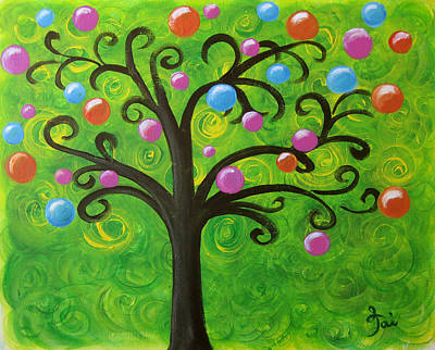 Acrylic Painting - Bubble Tree by Oiyee At Oystudio