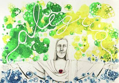 Smiling Jesus Mixed Media - Bubbles - Alegria by Cris Motta