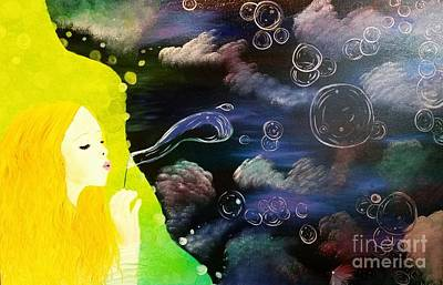 Bubbles Painting - Bubbles Of Life by Roxane Gabriel
