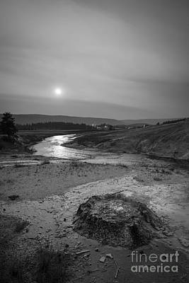 Bubbling Hot Spring In Yellowstone National Park Bw Print by Michael Ver Sprill