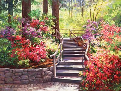 Impressionistic Landscape Painting - Buchart Garden Stairway by Laurie Hein