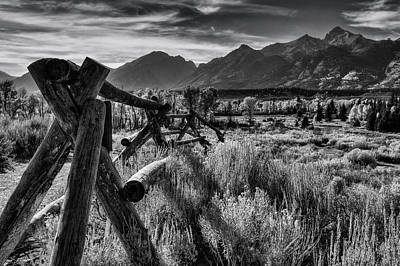 Sage Brush Photograph - Buck And Rail To The Tetons by Mark Kiver