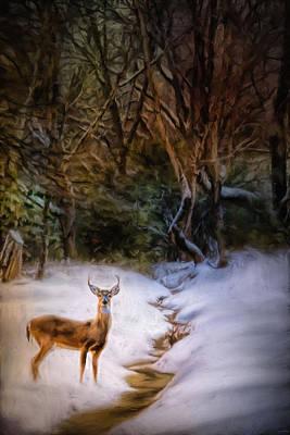Winter Scene Painting - Buck At Snowy Creek by Jai Johnson