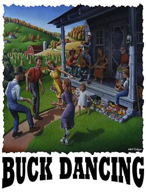 Kentucky Painting - Buck Dancing - Mountain Dancing by Walt Curlee