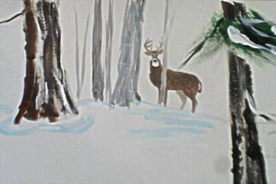 Painting - Buck In The Snow by B L Qualls