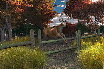 Buck Jumping Print by Mary Almond