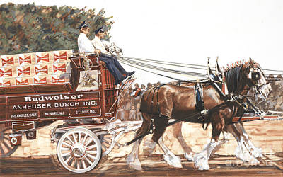 Bud Wagon And Horses Original by Don Langeneckert