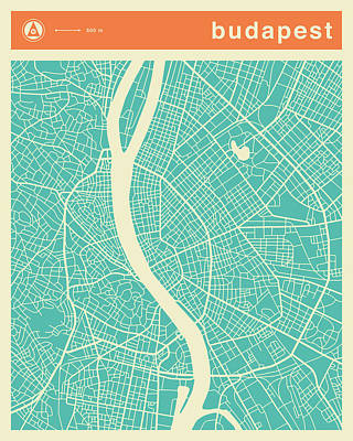 Budapest Street Map Print by Jazzberry Blue